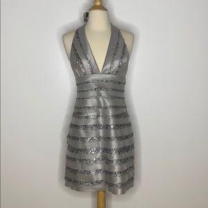 BCBGMAXAZRIA Silver Sequin Cocktail Dress 4